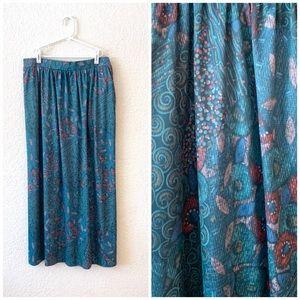 Vintage 80s Teal Midi Skirt Abstract Polyester